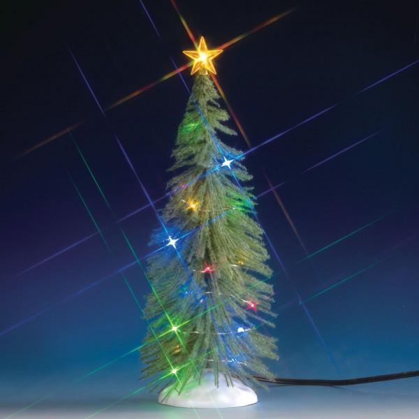 Fichte mit Schnee und 24 bunten Lichtern