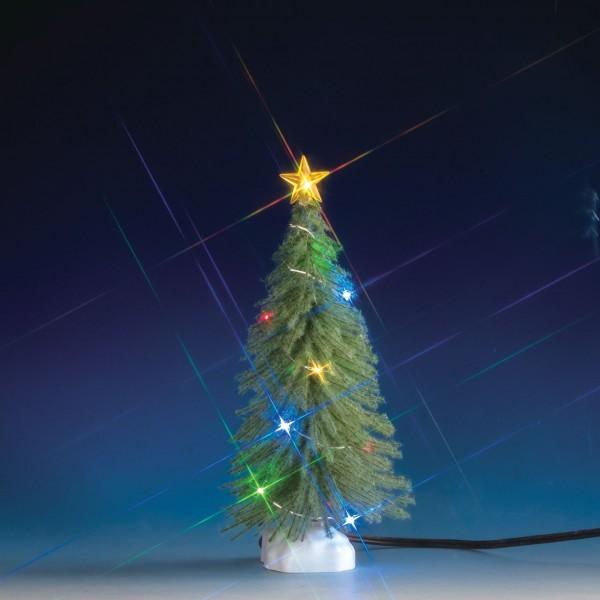 Fichte mit Schnee und 12 bunten Lichtern