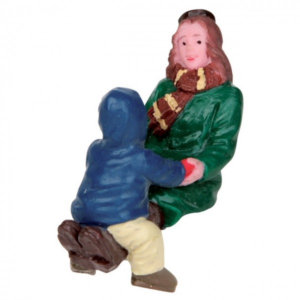 Frau mit Kind - Bankfiguren