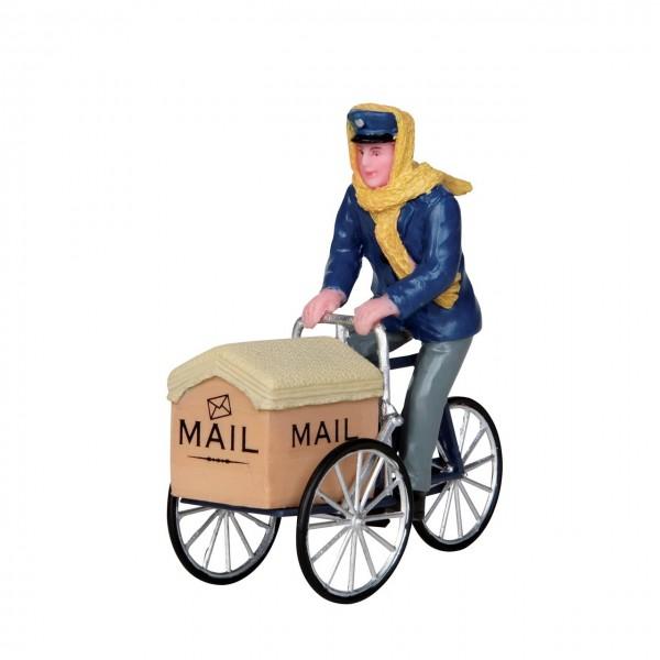 Auf dem Postfahrrad